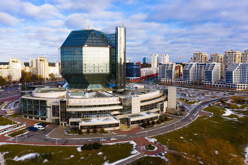 Вид с дрона на Национальную библиотеку Беларуси © Яков Филимонов / Фотобанк Лори