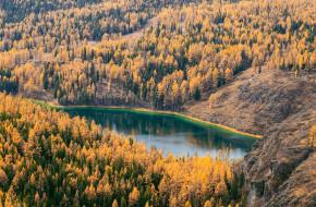 Вид сверху на живописное озеро Учкель и осеннюю тайгу на плато Улаган, Республика Алтай, Россия © Наталья Волкова / Фотобанк Лори